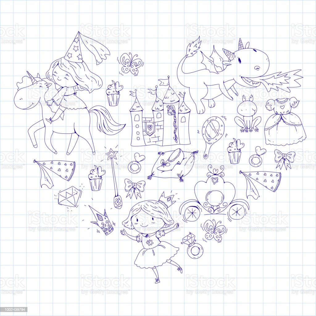 Coloring Page For Book Cute Little Princess With Unicorn And ...