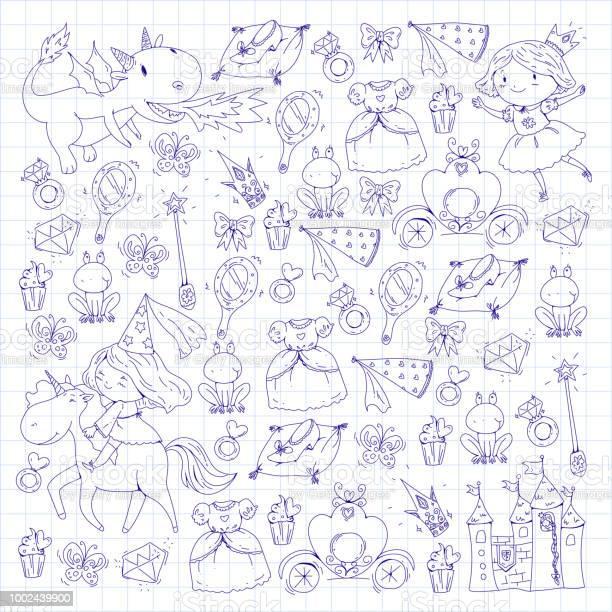Coloriage Livre Mignonne Petite Princesse Avec Licorne Et Dragon Chateau De La Petite Fille Robe Baguette