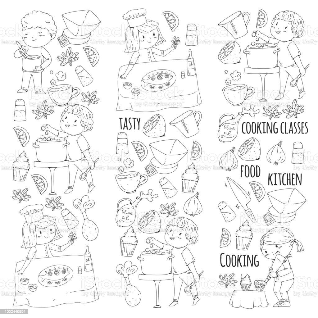 Ilustración De Página Para Colorear Para El Libro Utensilios De