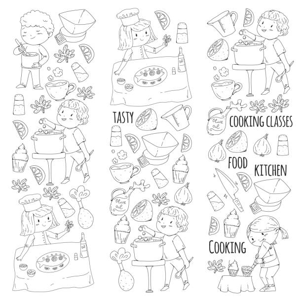 Cute Chef And Fish Vector Illustration Illüstrasyonlar Ve Vektör