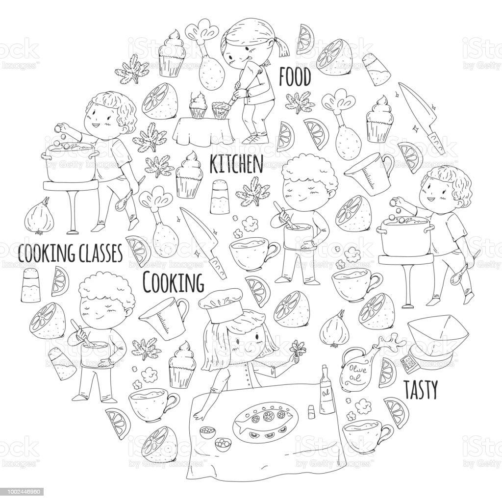 Kleurplaat Voor Boek Keukengerei Kookles Cursussen Voor Kinderen En