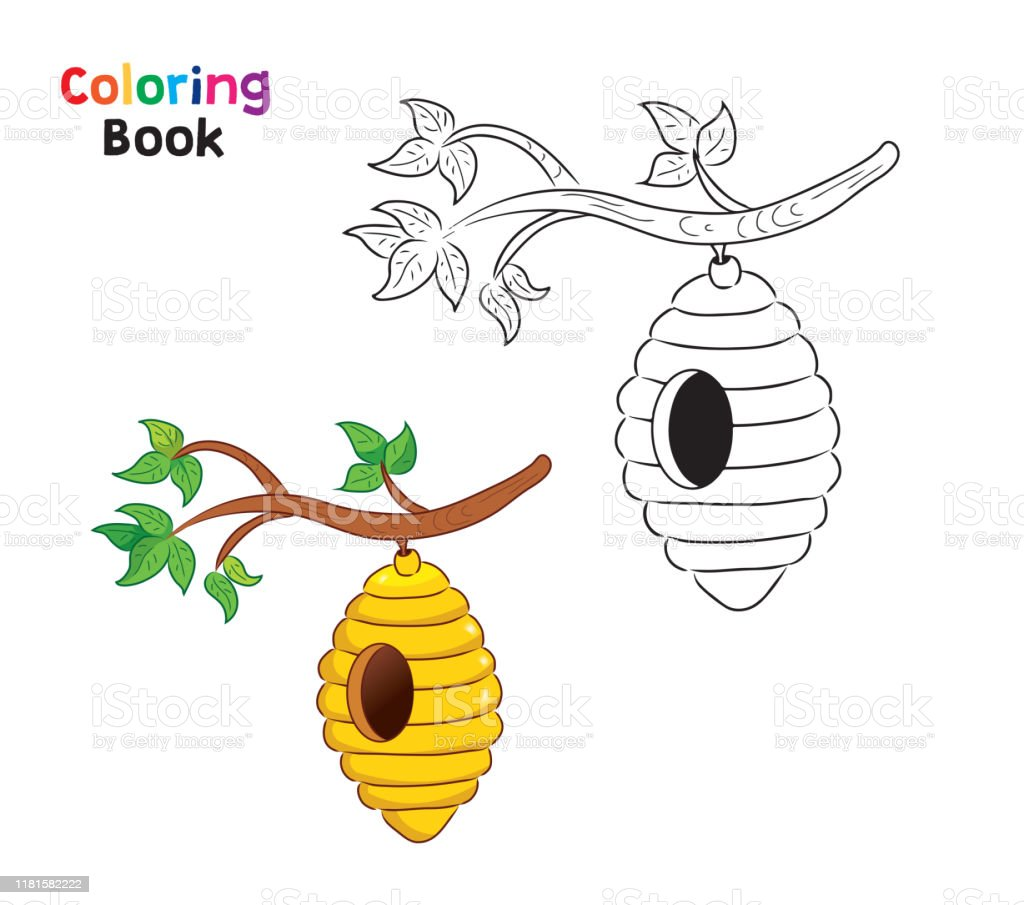 Coloring Page For Children Beehive Stock Illustration Download Image Now Istock