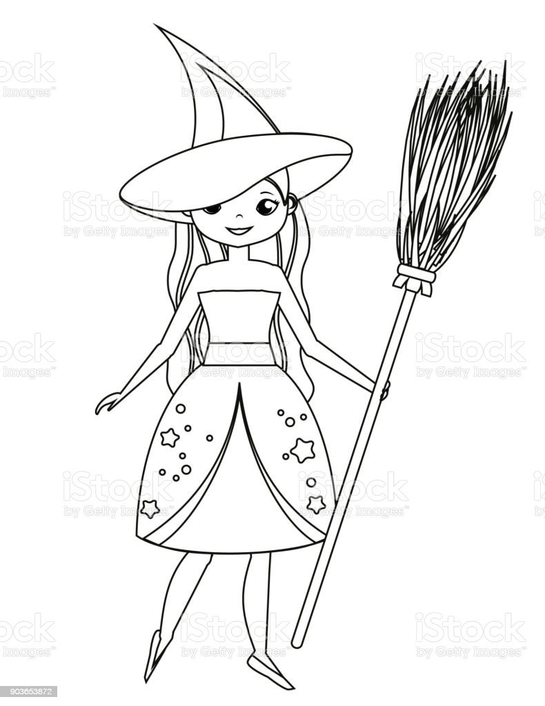 coloring page for children cute witch holding broom girl in