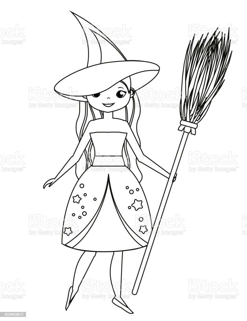 Ilustración de Página Para Colorear Para Niños Escoba De Bruja Linda ...