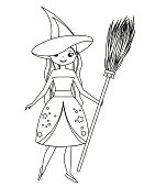 Coloring page for children. Cute witch holding broom. Girl in Halloween costume. Drawing kids activity. Printable fun.
