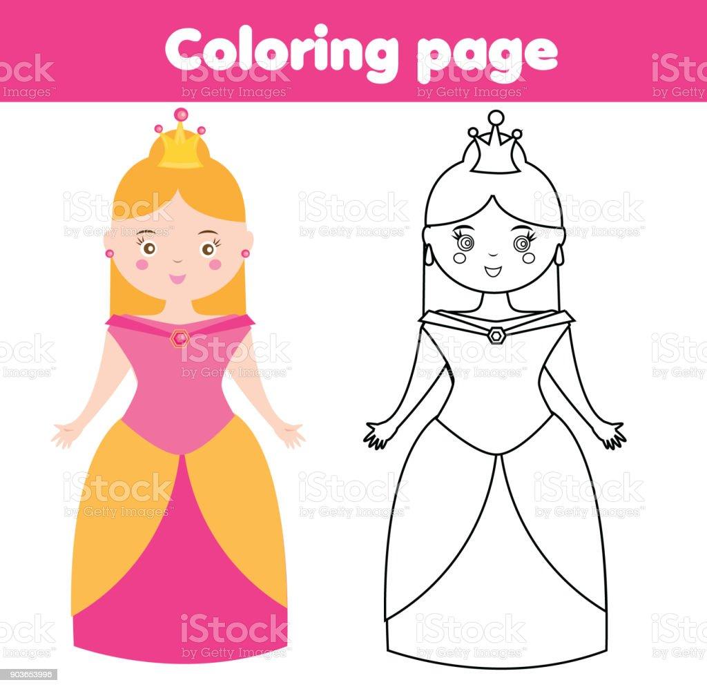 Ilustracion De Pagina Para Colorear Para Ninos Princesa Dibujo Juego