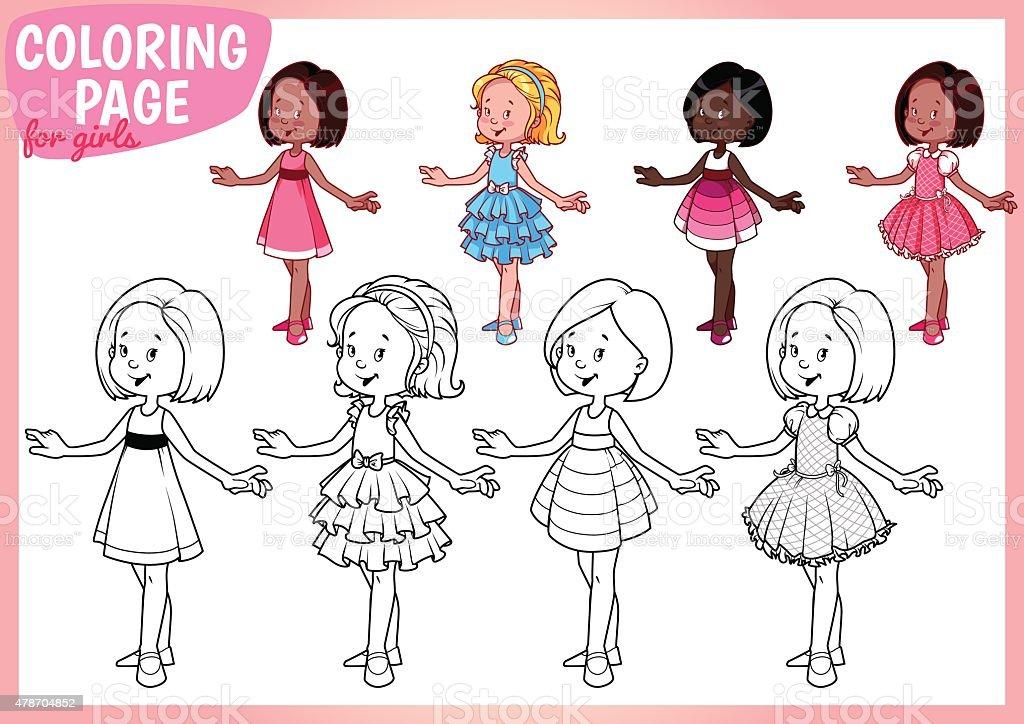 Ilustración de Para Colorear Página Para Niñas Cuatro Hermosas ...
