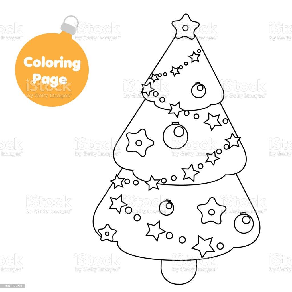 Malvorlagen Für Kinder Weihnachten Neujahr Fichte Baum Stock