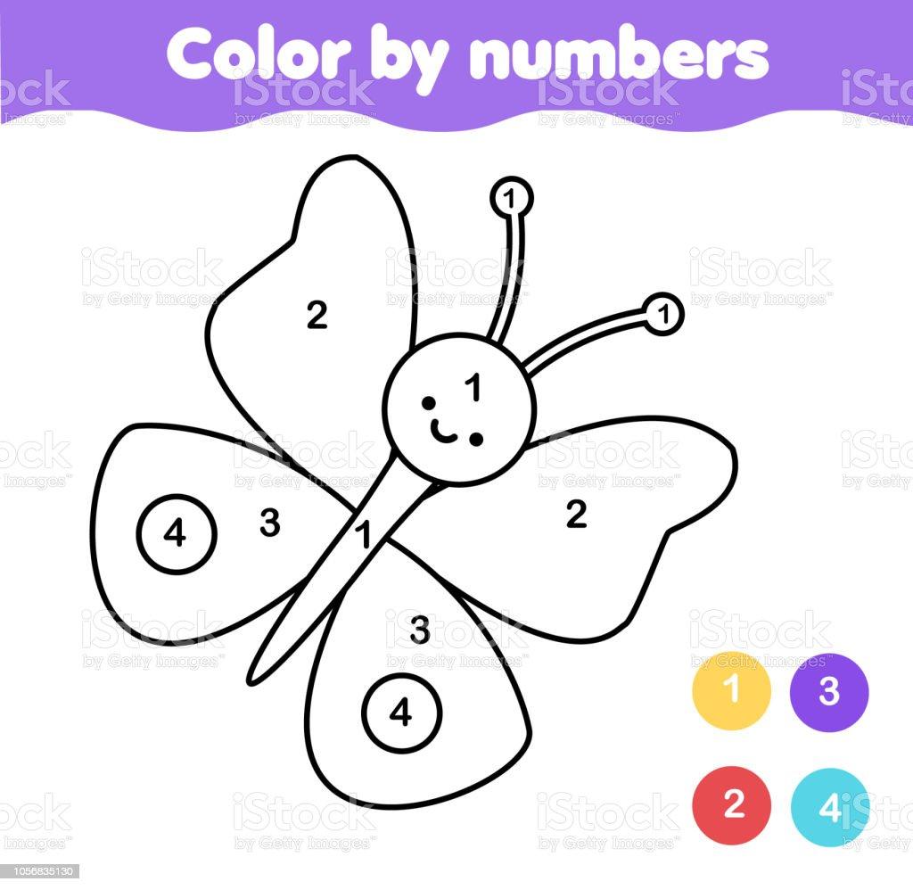Malvorlagen Für Kinder Farbe Nach Zahlen Schmetterling Stock Vektor