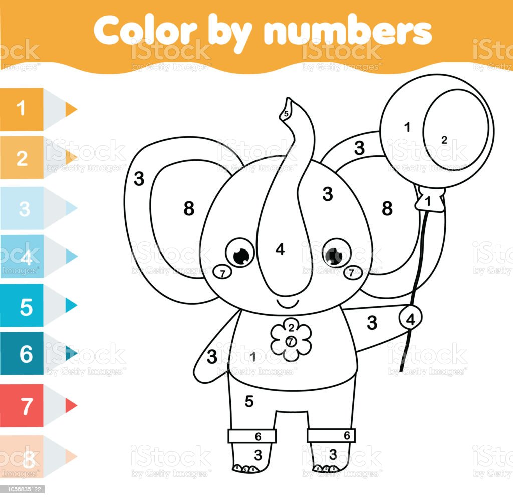 Ilustración De Página Para Colorear Para Niños Color Por Números