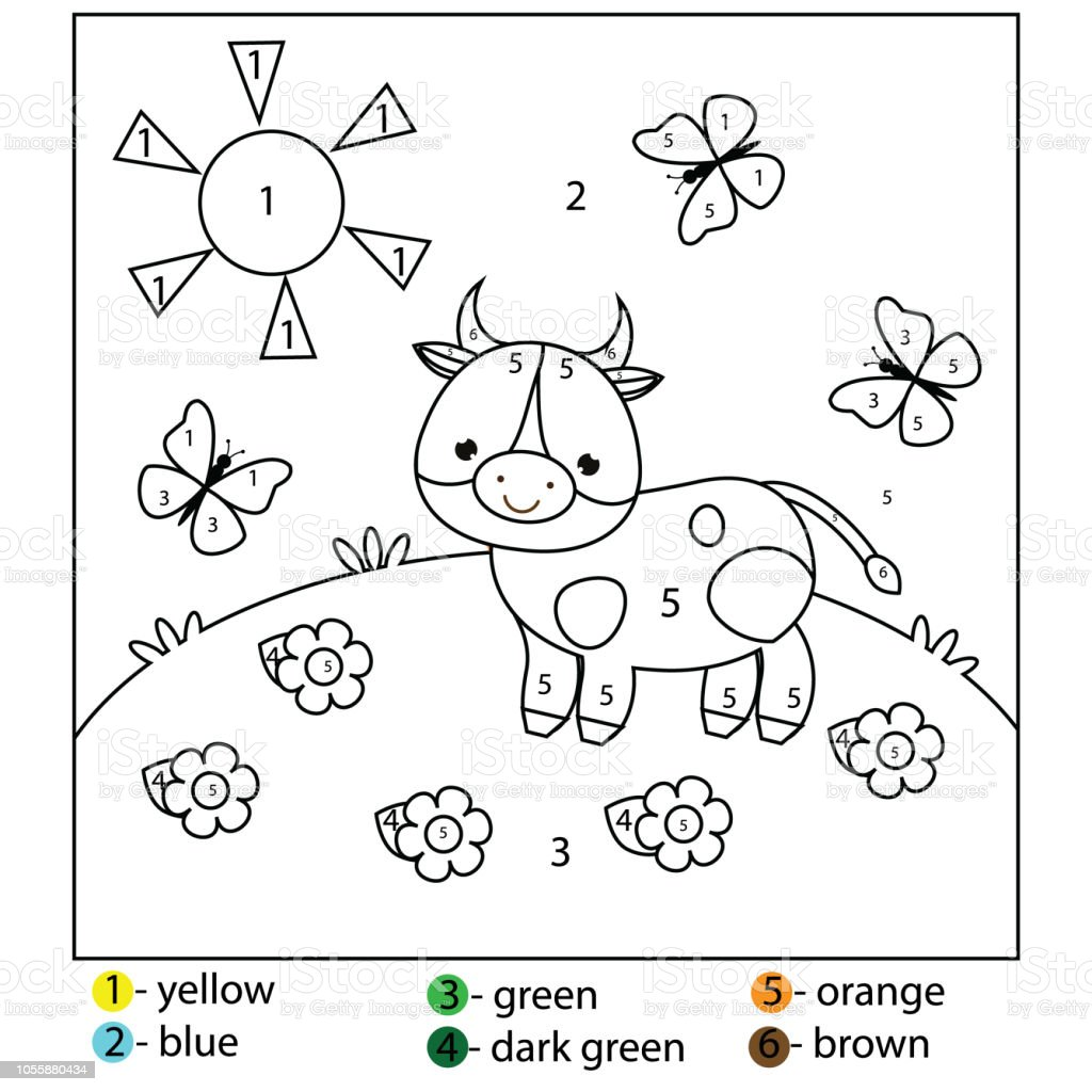 Coloring Page For Kids Color By Numbers Cow On Meadow Stock Illustration -  Download Image Now - IStock