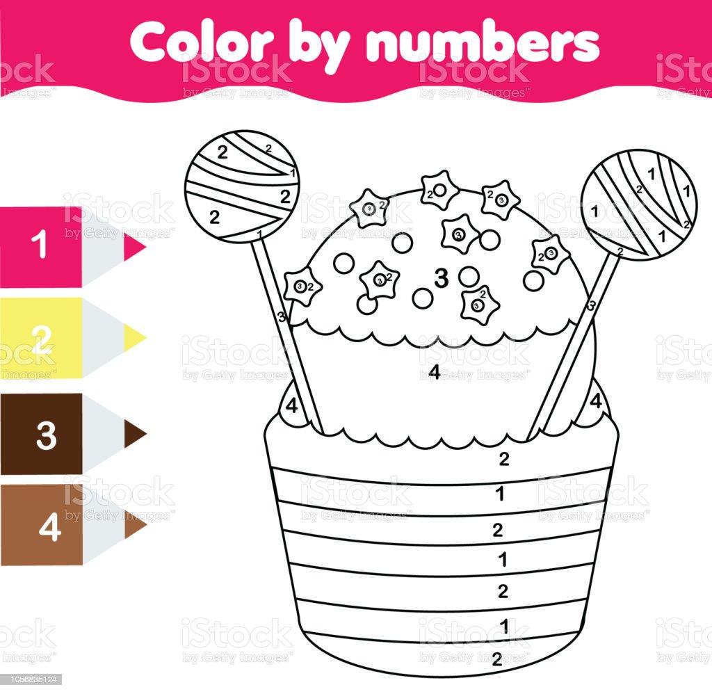 Cocuklar Icin Boyama Sayfasi Sayilara Gore Renk Cupcake Stok