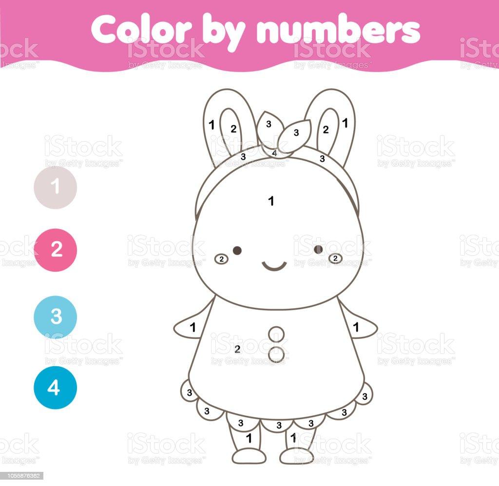 Malvorlagen Für Kinder Farbe Nach Zahlen Niedlichen Häschen