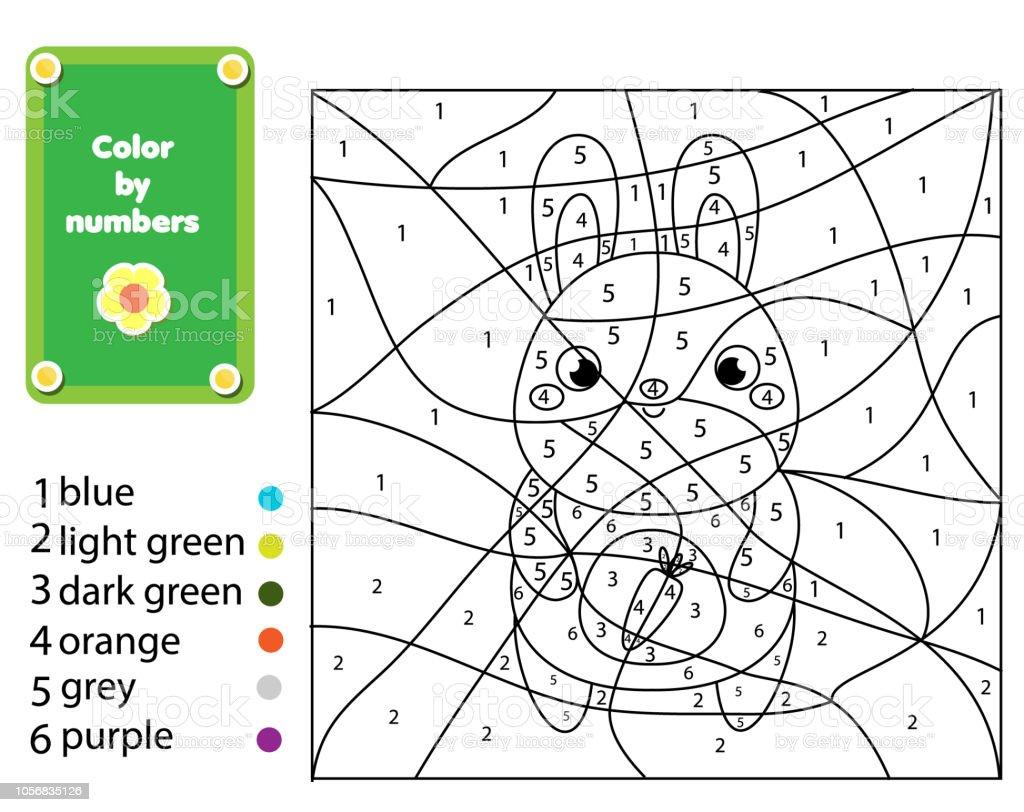 Ilustración De Página Para Colorear Para Niños Lindo Conejo Números