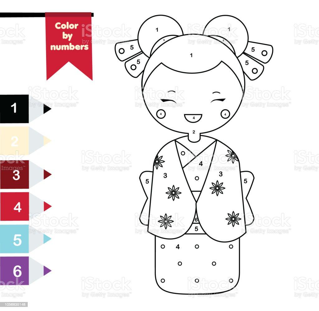 Malvorlagen Für Kinder Farbe Nach Zahlen Japanische Mädchen Im