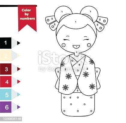 Ilustración de Página Para Colorear Para Niños Chica Japonesa ...