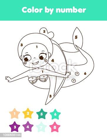 Ilustración de Página Para Colorear Para Niños Sirena De Números De ...