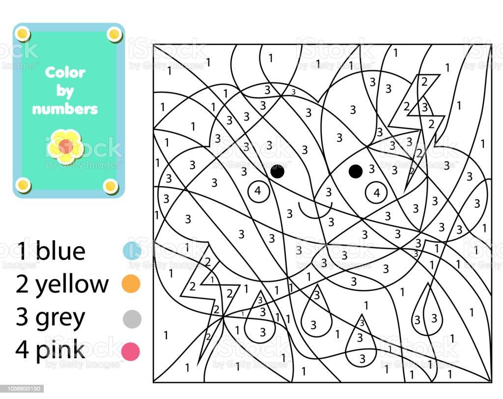 Malvorlagen Für Kinder Farbe Durch Zahlen Regnerischen Wolke Stock