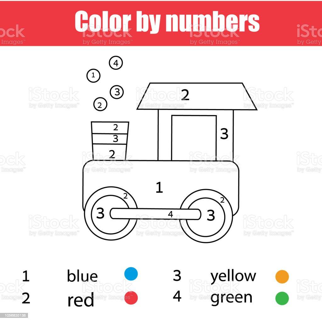 Ilustración De Página Para Colorear Para Niños Tren De