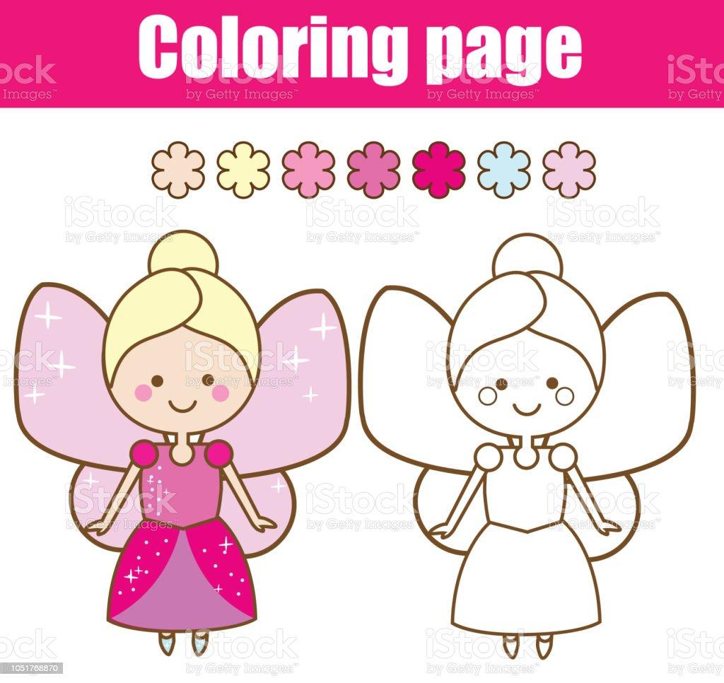 Cocuklar Icin Boyama Sayfasi Renk Sevimli Peri Stok Vektor Sanati