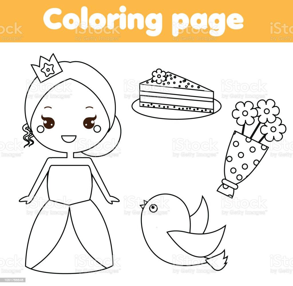 Coloriage De Princesse En Couleur.Coloriage Pour Les Enfants Princesse Mignonne Couleur Vecteurs