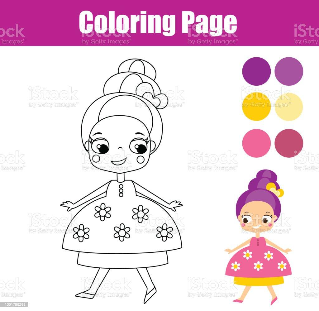 Malvorlagen Für Kinder Nette Fantasie Prinzessin Stock Vektor Art