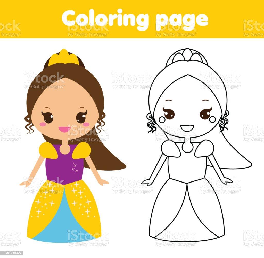 Cocuklar Icin Boyama Sayfasi Sirin Fantezi Prenses Stok Vektor