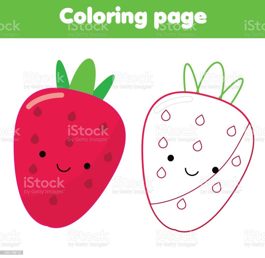 Ilustración De Página Para Colorear Para Niños Cute Kawaii Fresa Y