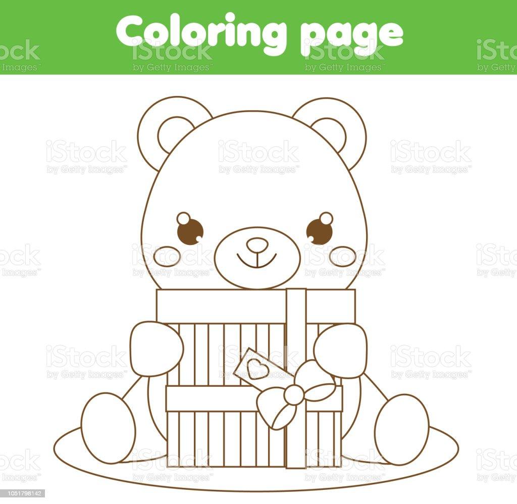 Malvorlagen Für Kinder Niedliche Teddybär Mit Geschenkbox Stock