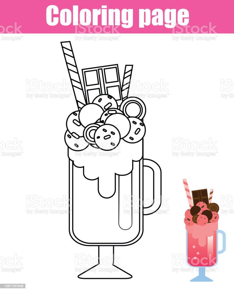 Cocuklar Icin Boyama Sayfasi Milkshake Kokteyl Stok Vektor Sanati