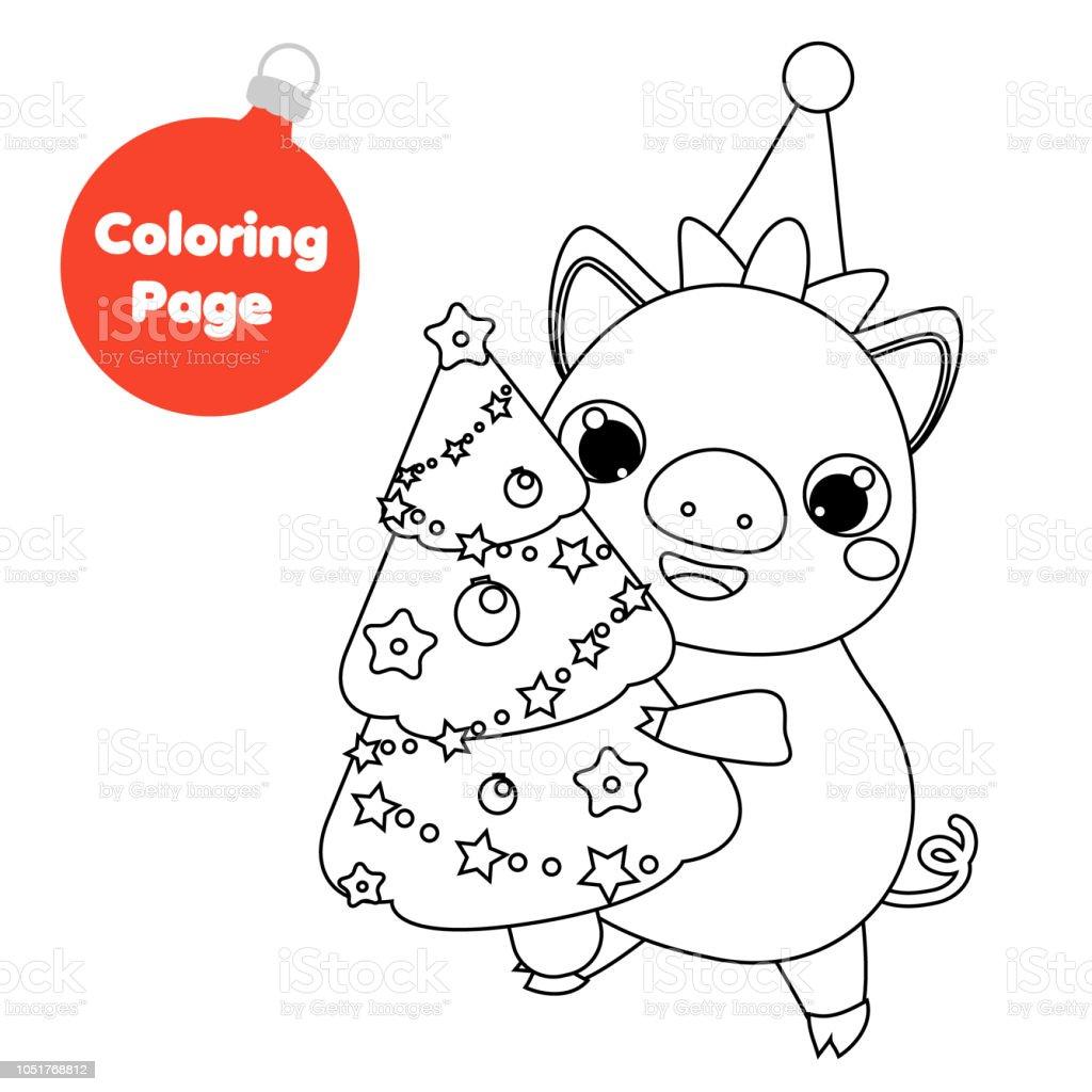 Ilustración De Página Para Colorear Para Niños Año Nuevo Cerdo Con