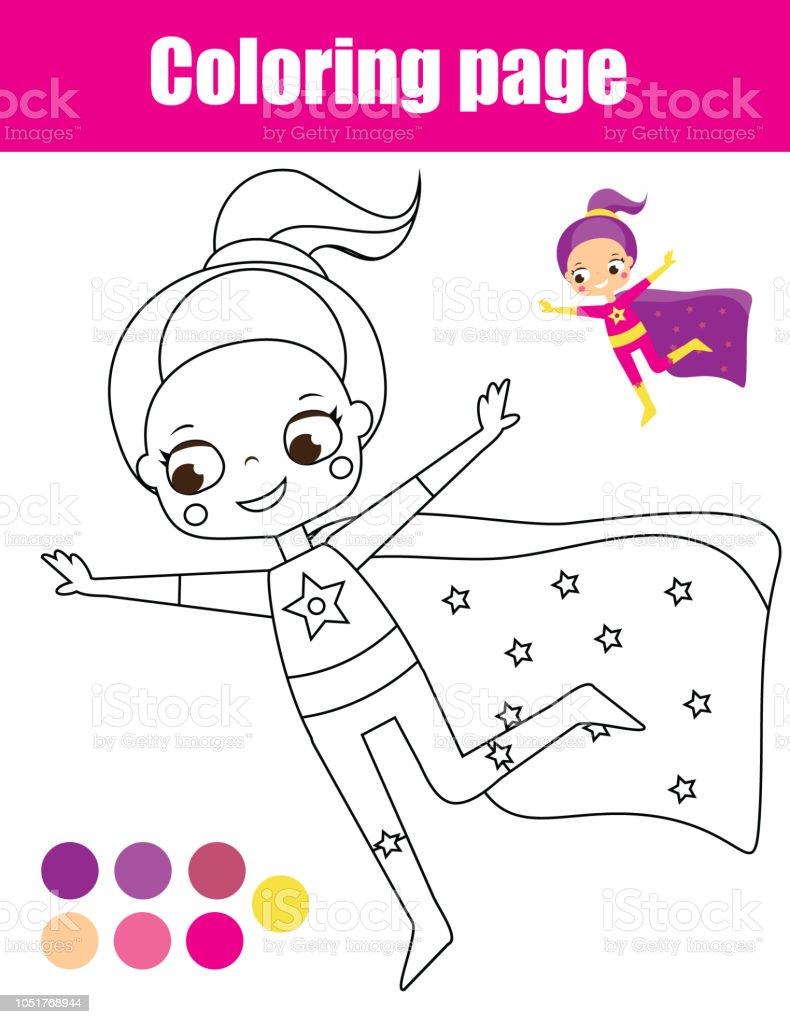 çocuklar Için Boyama Sayfası Süper Kahraman Kız Stok Vektör Sanatı