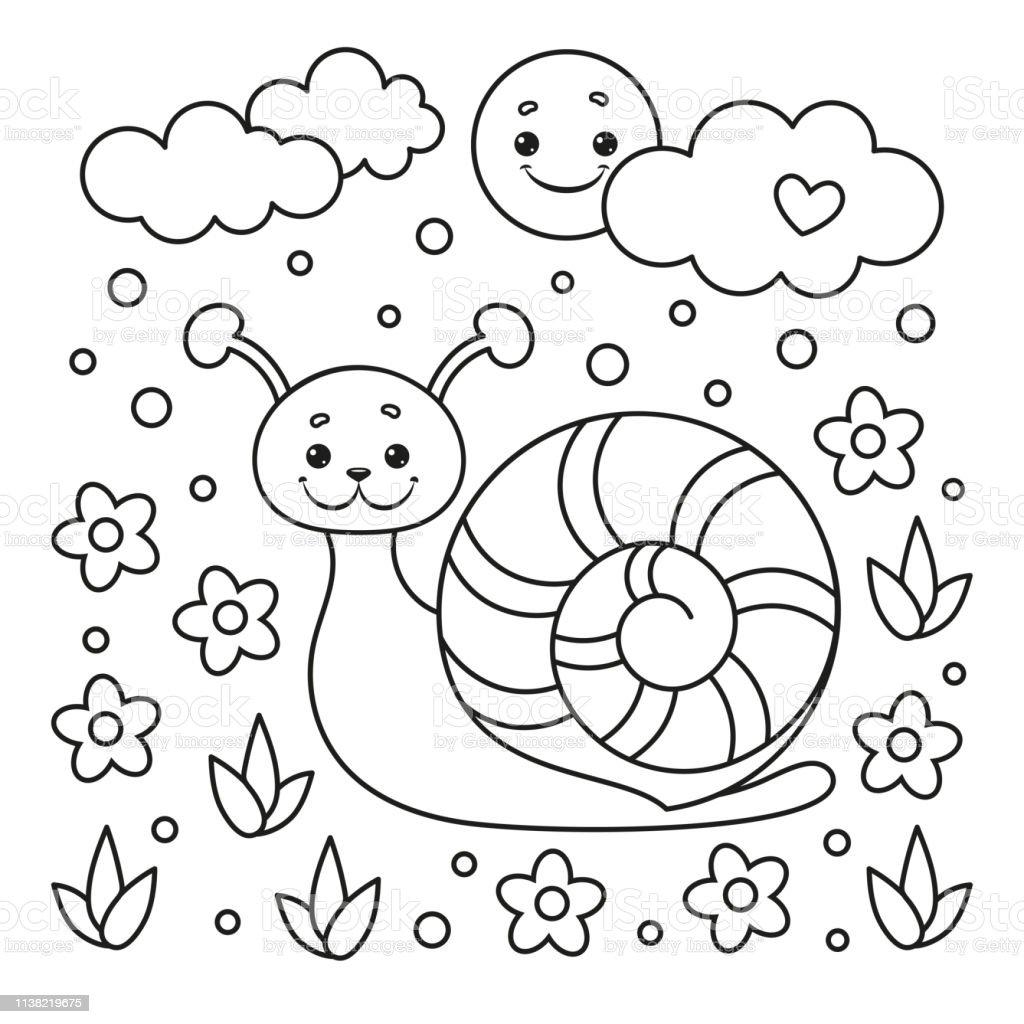 Ilustración De Página Para Colorear Para Niños Con Caracol Flor Sol