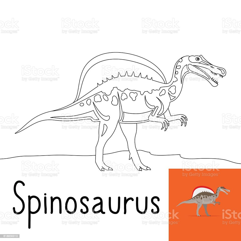 Coloring Page For Kids With Spinosaurus Stock Illustration Download Image Now Istock