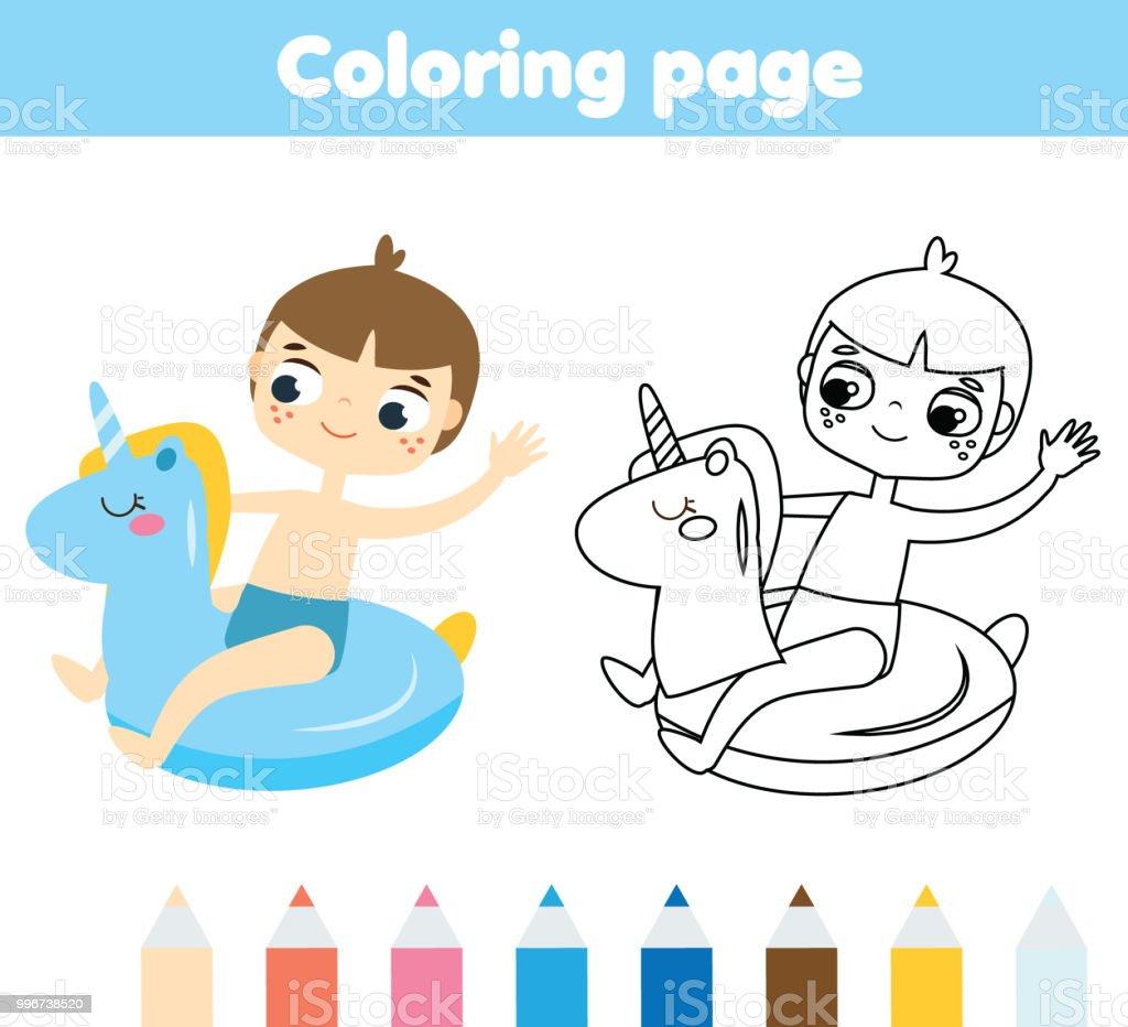 Yaz Tatil Tema Ile çocuklar Için Boyama Sayfası şişme Halkada