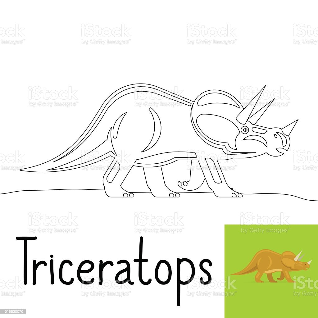 coloring page for kids with triceratops stock vector art 618830070