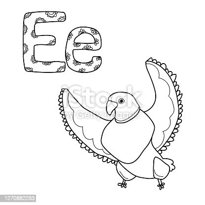 Coloring page for study letter E, outline illustration  of eagle and volumetric letters with patterns