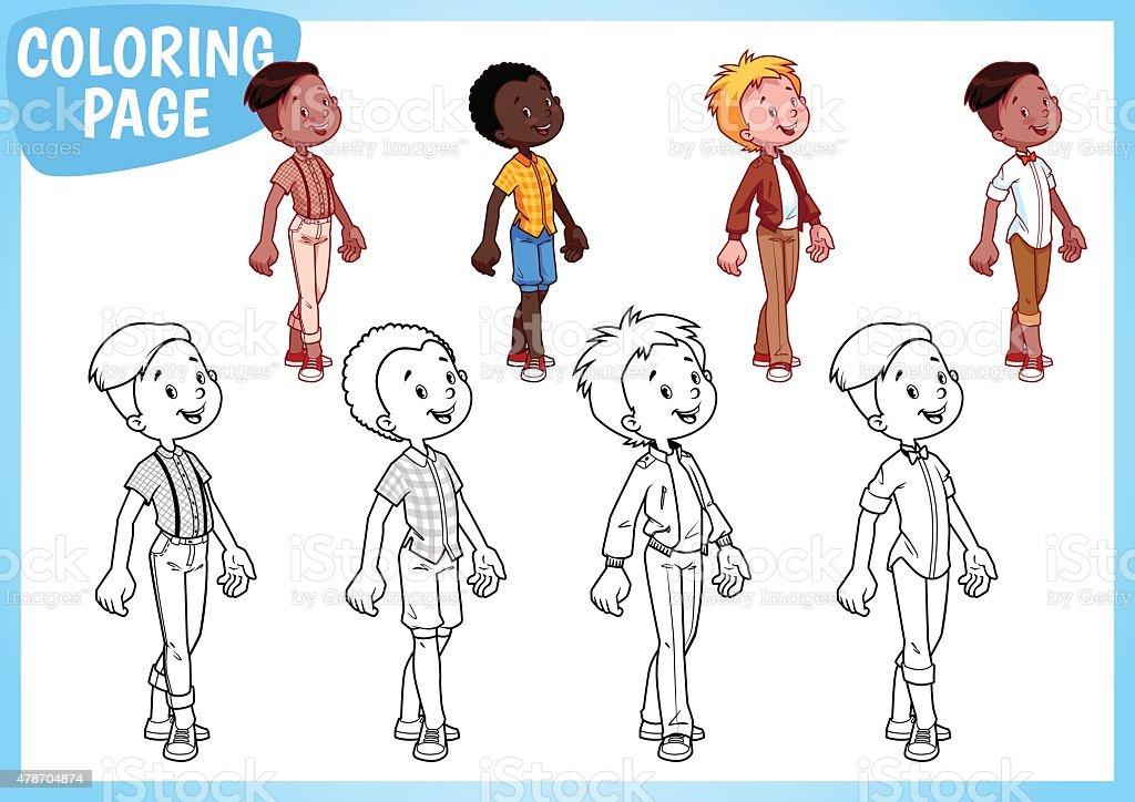 Ilustración de Colorear Página Cuatro Niños En La Elegante De ...