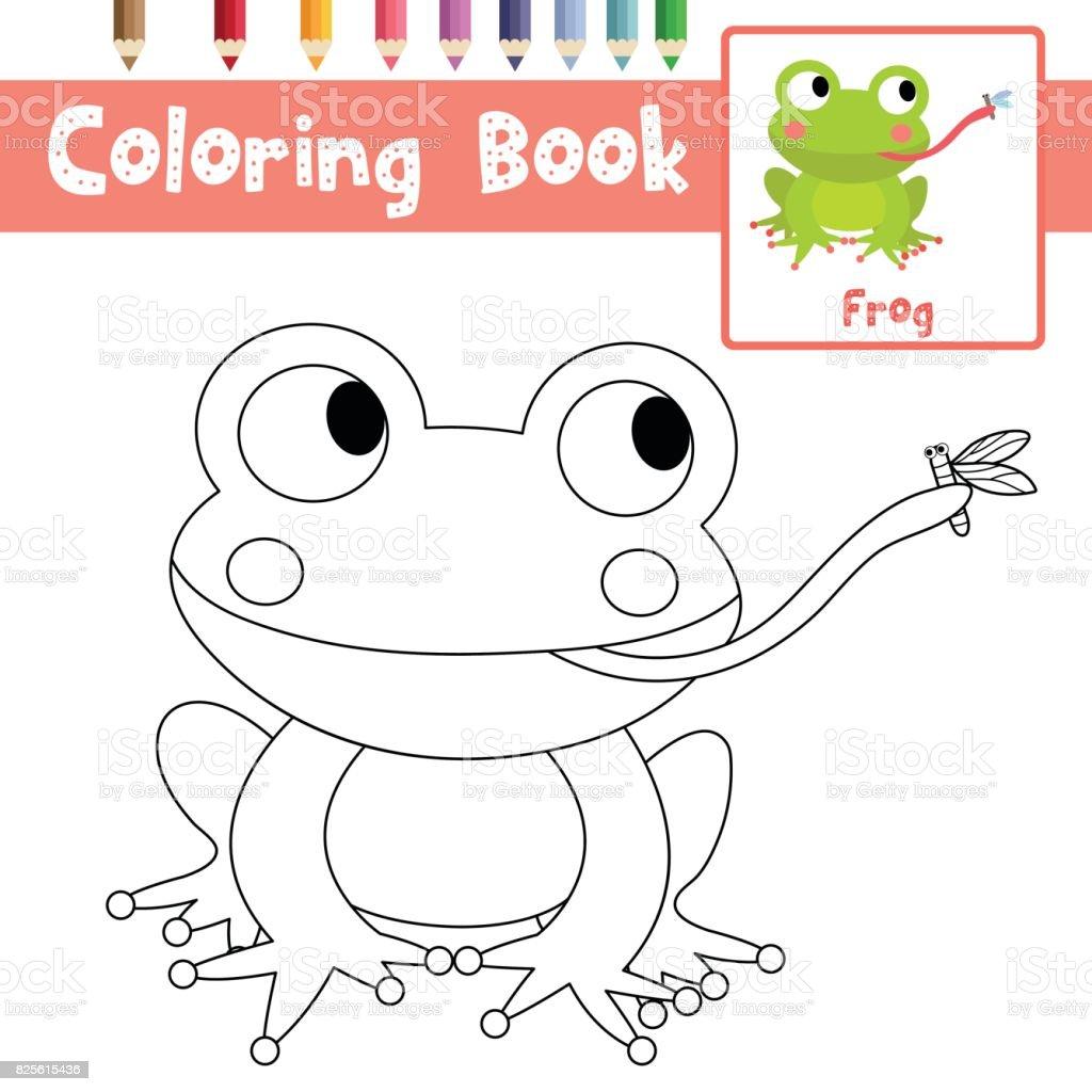 Sayfa Kurbağa Yemek Sinek Hayvan Karikatür Karakter Vektör çizim