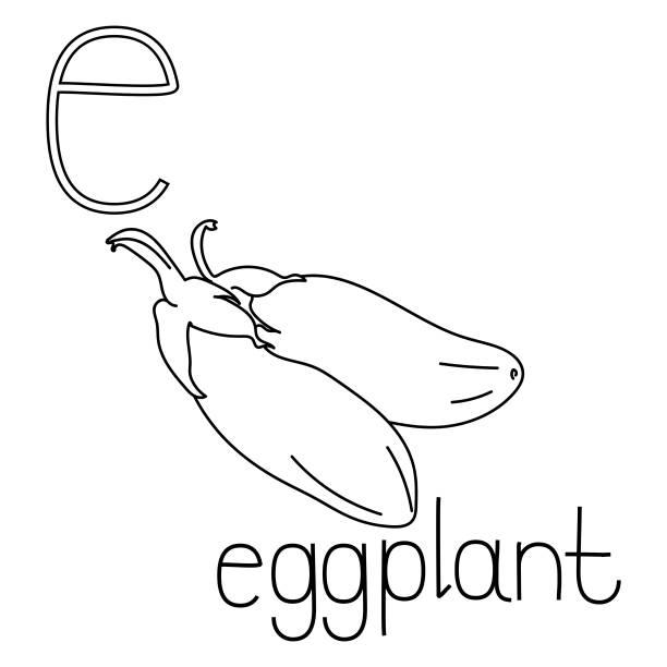 illustrations, cliparts, dessins animés et icônes de coloriage page fruits et légumes abc, lettre e - aubergine, carte de coloration instruite - enseignant(e) en maternelle
