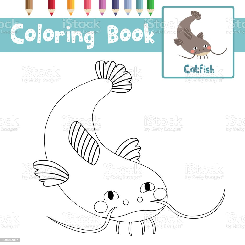 Coloring Page Funny Catfish Animal Cartoon Character Vector