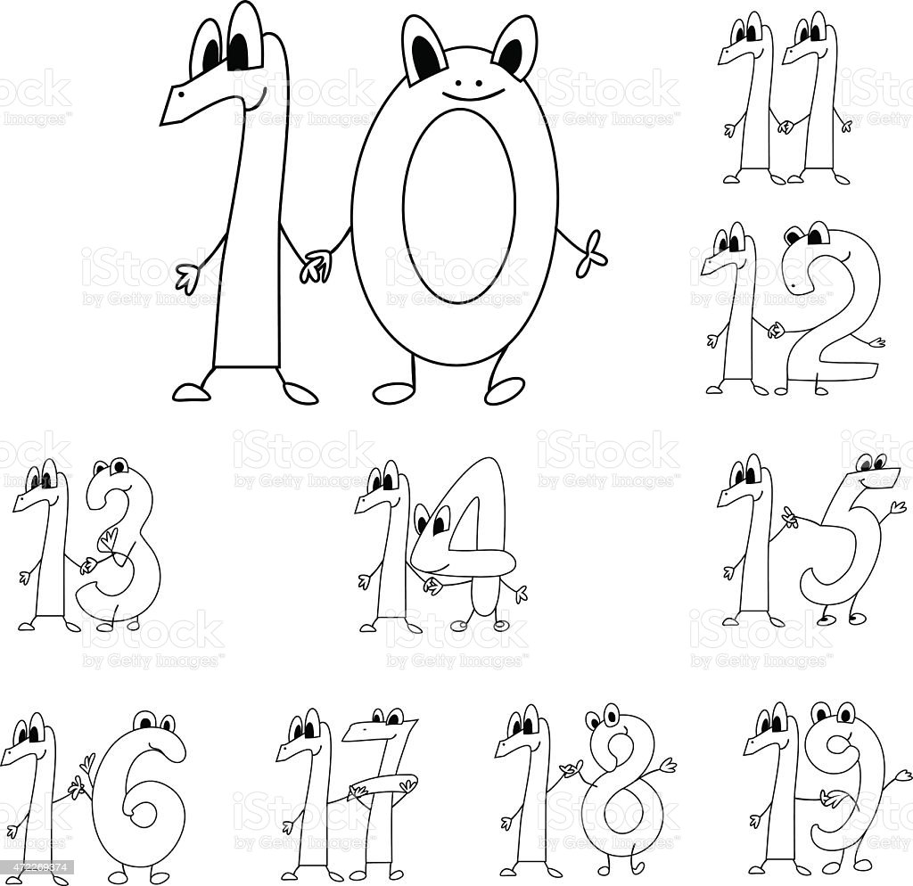 Coloring page funny numbers vector art illustration