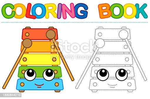 istock Coloring page funny smiling xylophone. Educational tracing coloring book for childrens activity 1330844210