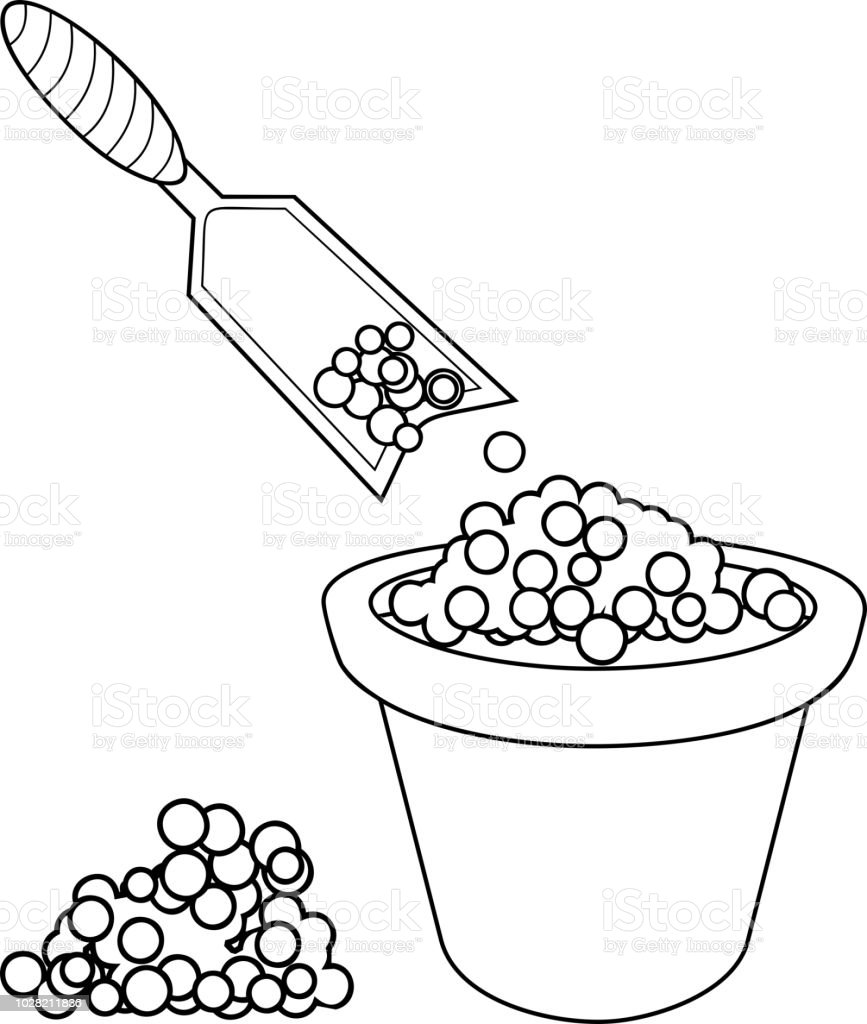 Coloring Page Garden Scoop And Flower Pot With Soil Stock Vector Art
