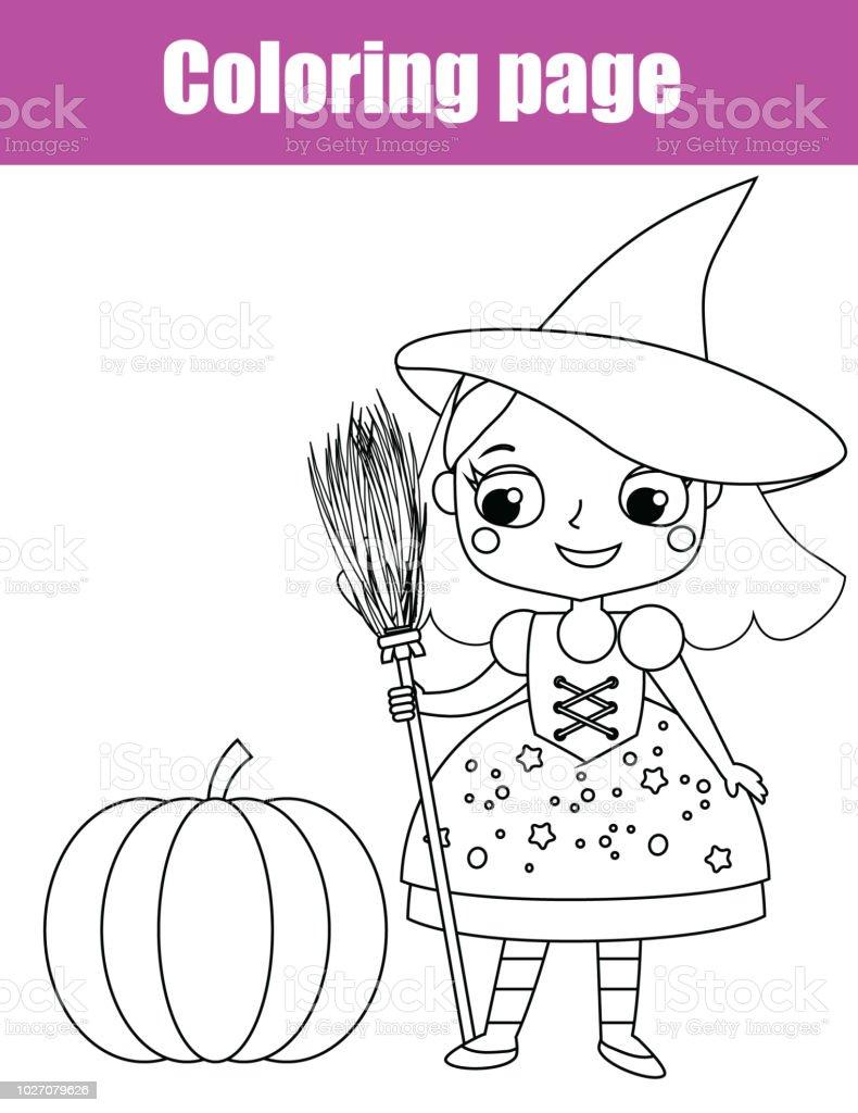 Malvorlagen Halloweenhexe Pädagogische Kinder Spiel Zeichnung Kinder