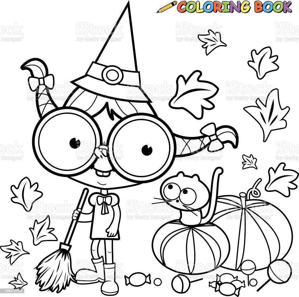 Coloring Page Halloween Witch Sweeping Pumpkin Leaves Stock Vector ...