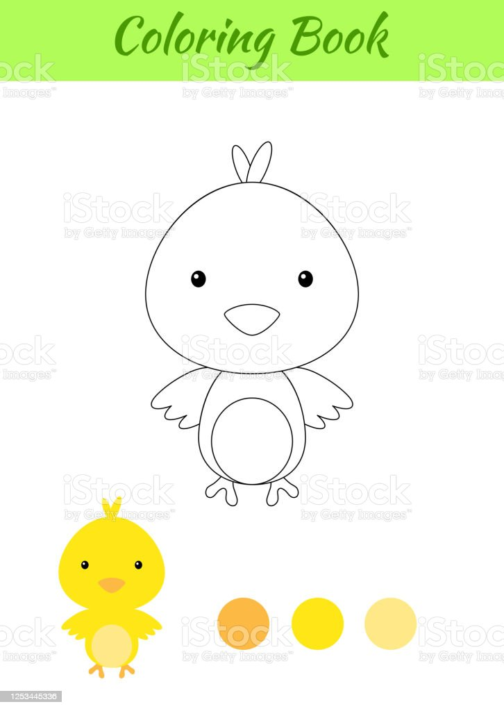 Coloring Page Happy Little Baby Chicken Printable Coloring Book For Kids  Educational Activity For Kindergarten And Preschool With Cute Animal Flat  Cartoon Colorful Vector Illustration Stock Illustration - Download Image  Now - IStock