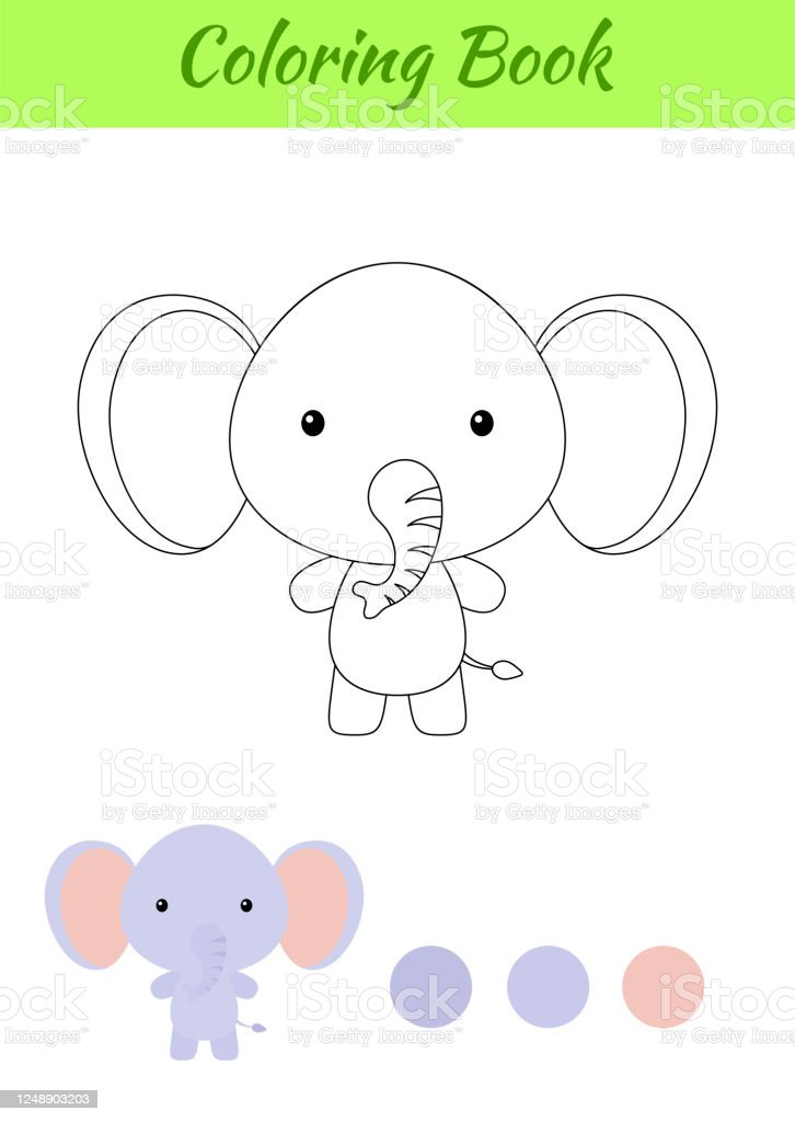 Coloring Page Happy Little Baby Elephant Coloring Book For Kids Educational Activity For Preschool Years Kids And Toddlers With Cute Animal Stock Illustration Download Image Now Istock