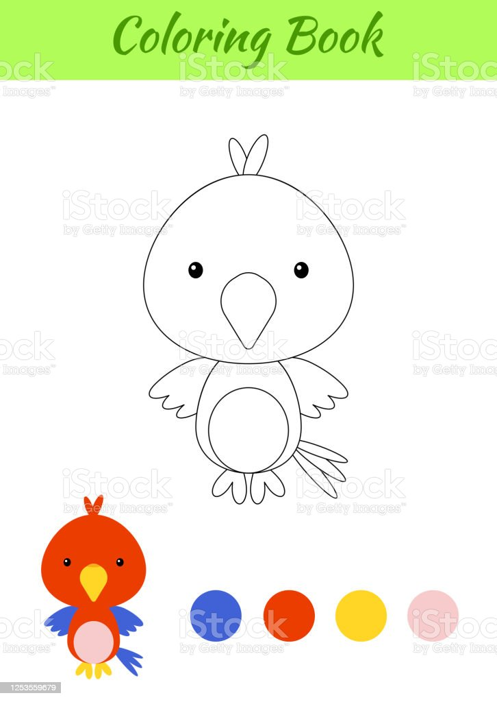 Coloring Page Happy Little Baby Parrot Printable Coloring Book For Kids  Educational Activity For Kindergarten And Preschool With Cute Animal Flat  Cartoon Colorful Vector Illustration Stock Illustration - Download Image  Now - IStock