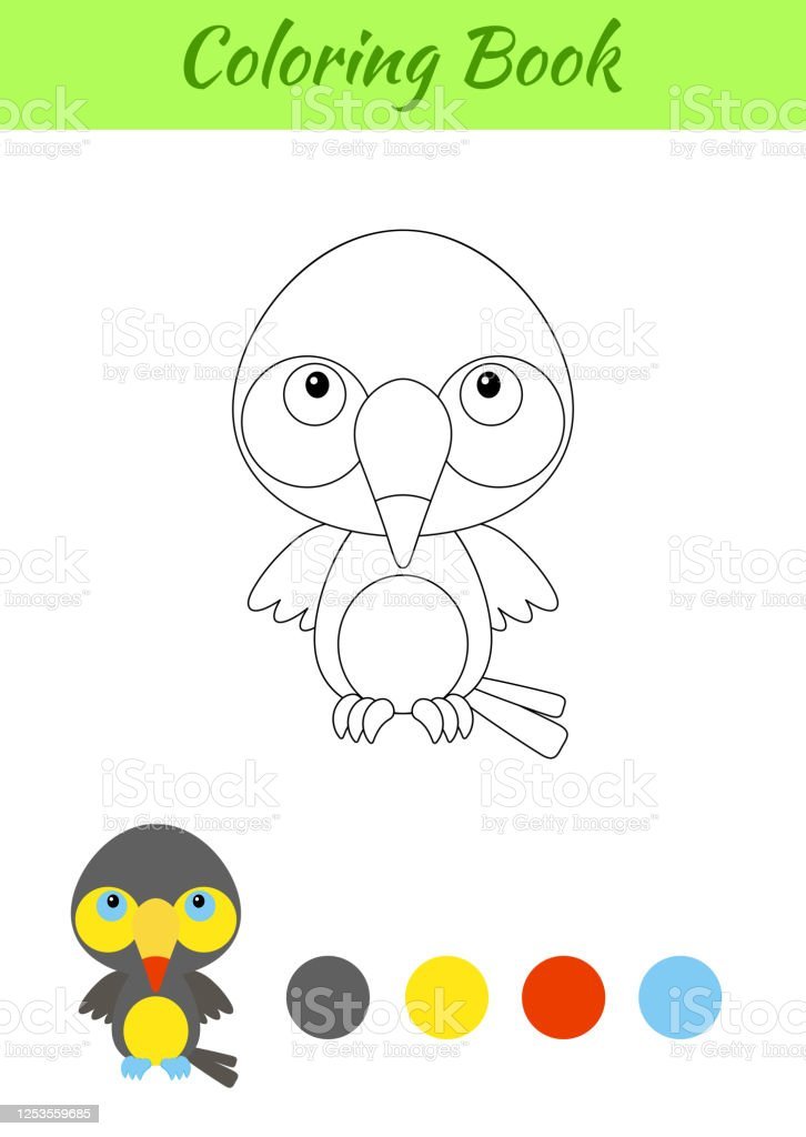 Coloring Page Happy Little Baby Toucan Printable Coloring Book For Kids  Educational Activity For Kindergarten And Preschool With Cute Animal Flat  Cartoon Colorful Vector Illustration Stock Illustration - Download Image  Now - IStock